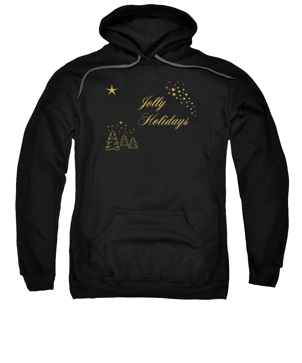 Golden Sweatshirt featuring the digital art Jolly Holidays Gold Sparkle by Terry Weaver