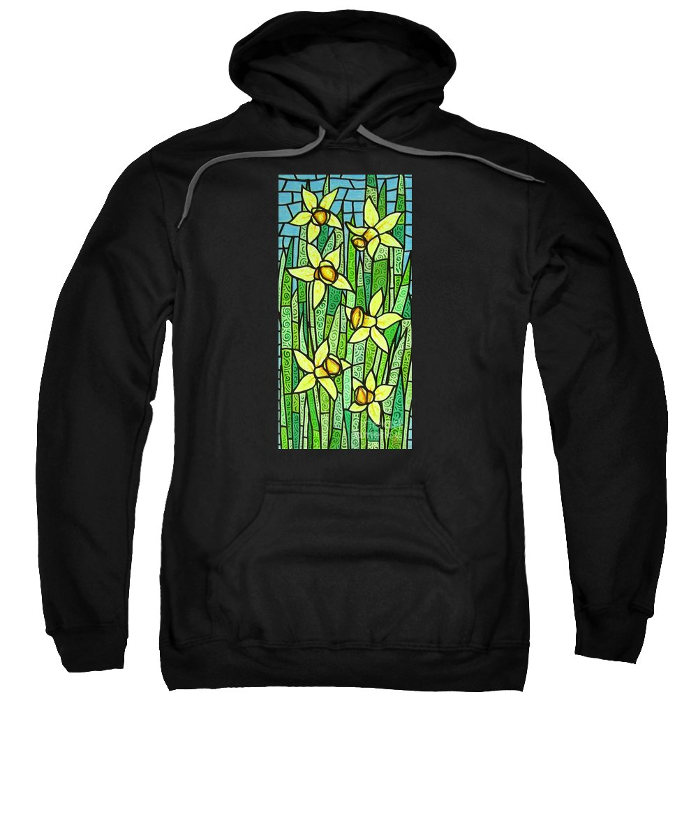 Jonquils Sweatshirt featuring the painting Jonquil Glory by Jim Harris