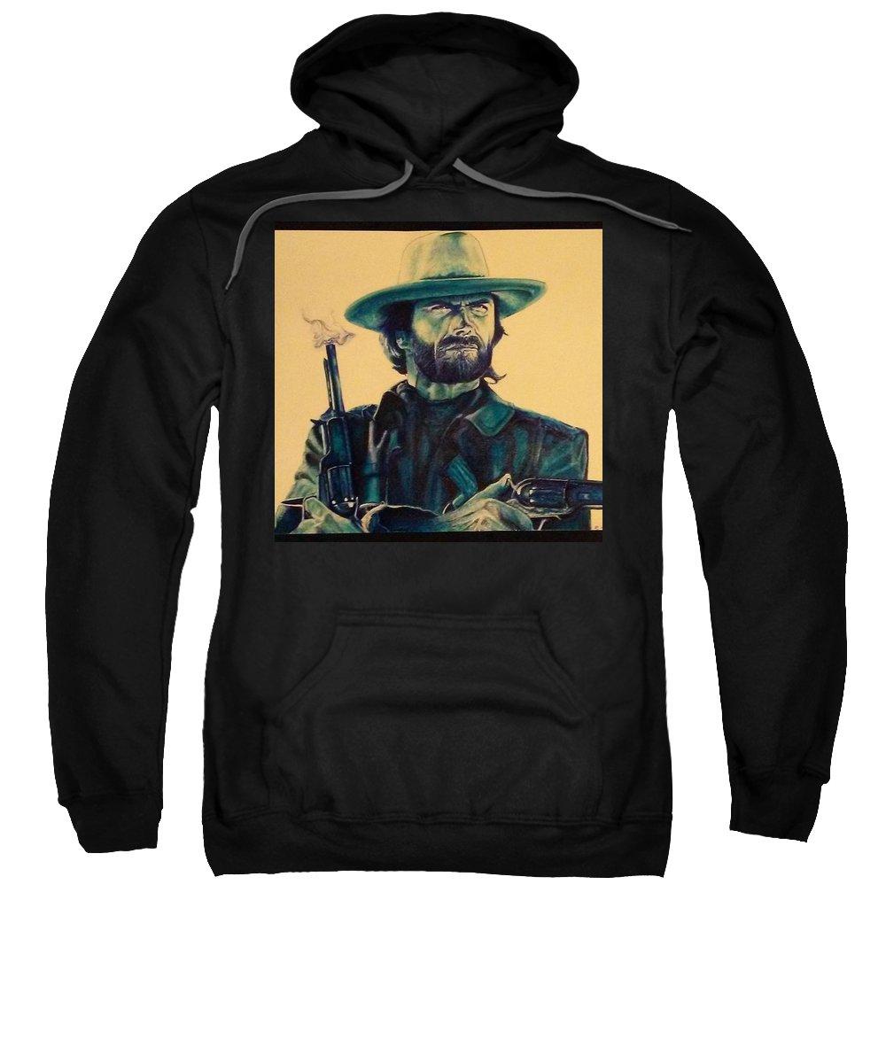 Smokin Gun Sweatshirt featuring the painting Josey Wales Outlaw. Smokin Gun by Robert Ward
