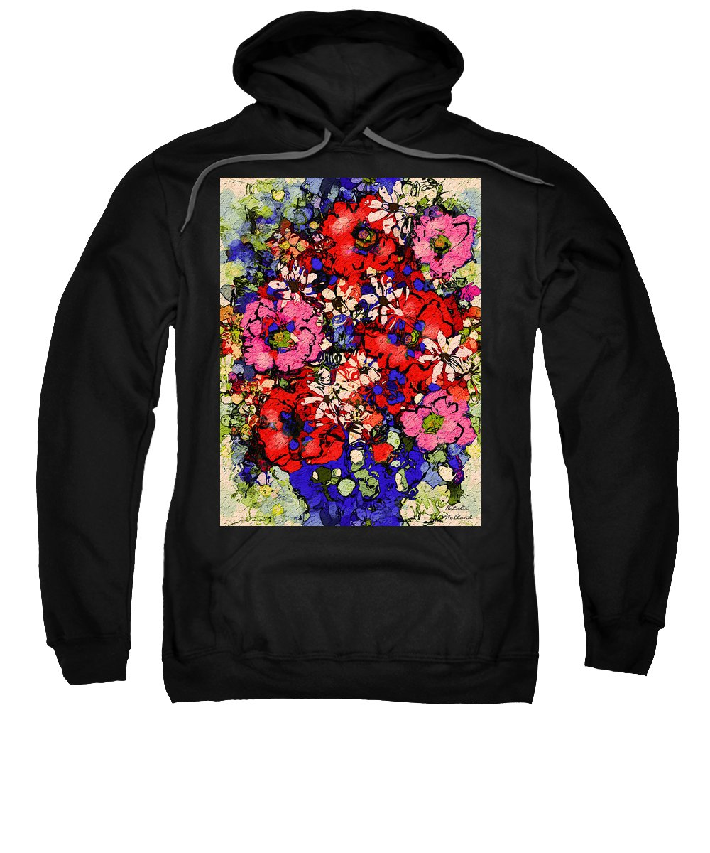 Floral Abstract Sweatshirt featuring the painting Joyful Flowers by Natalie Holland