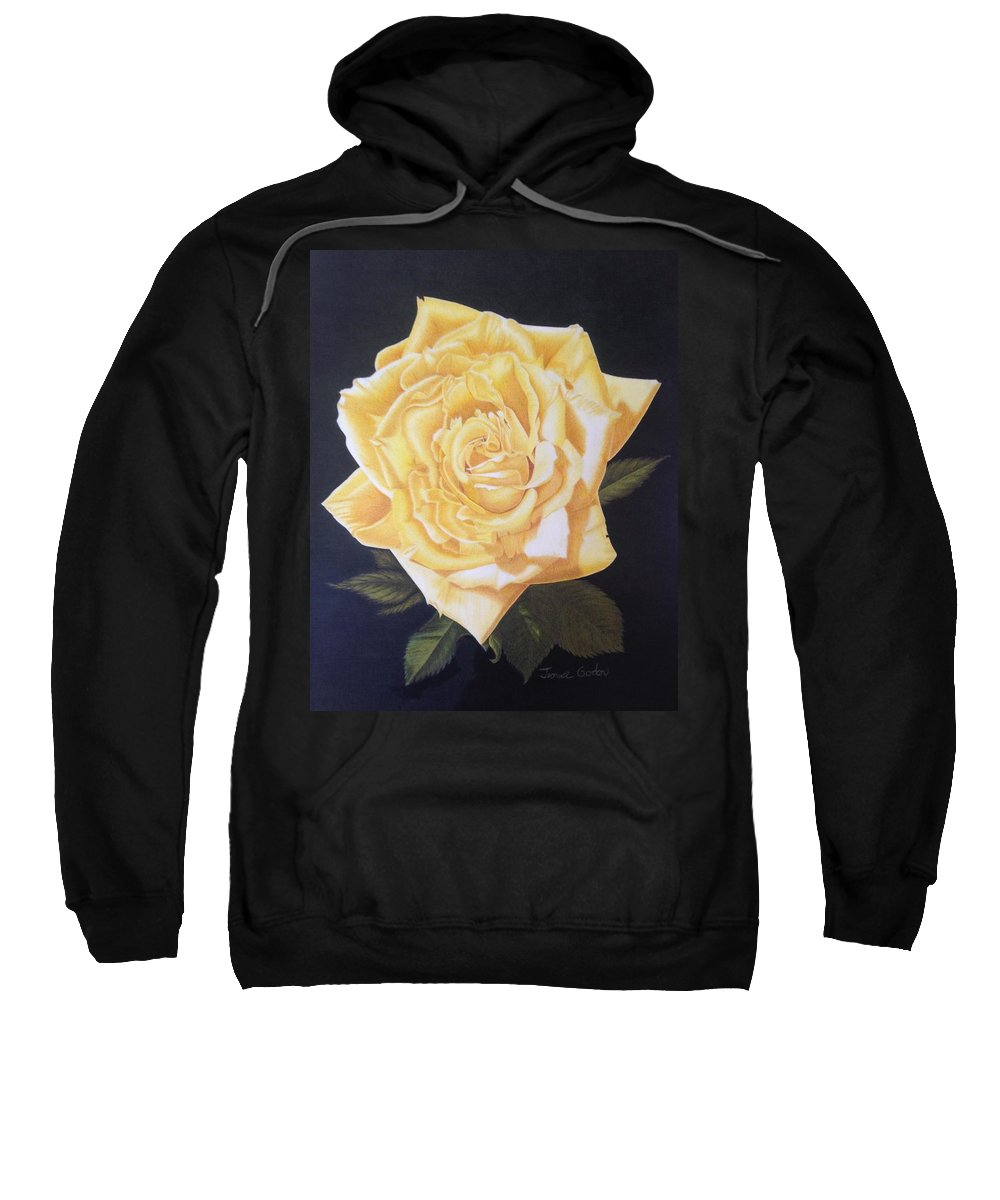 Yellow Rose Of Texas Sweatshirt featuring the drawing Julie's Yellow Rose by Jeannice Gordon