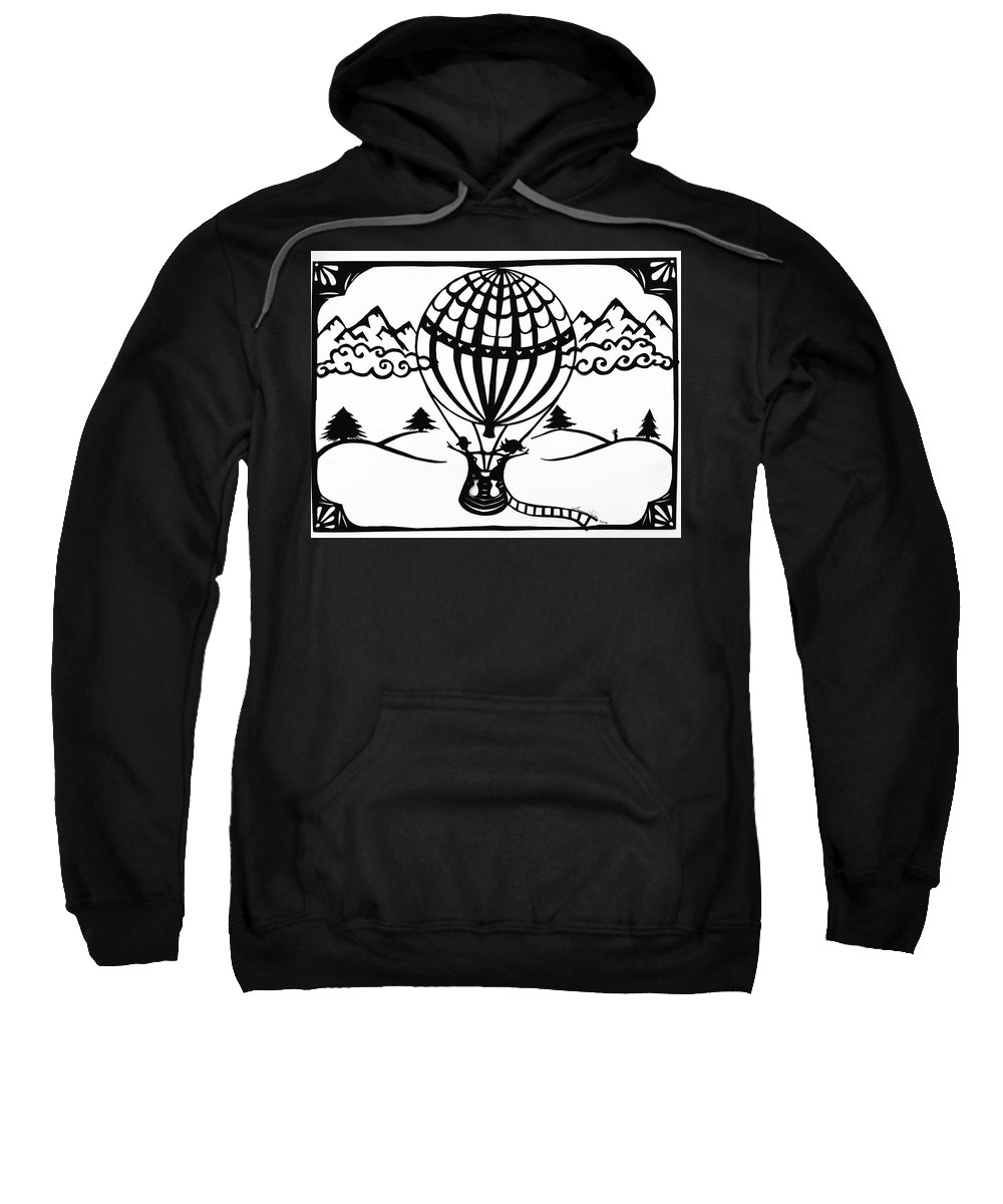 Hot Air Balloon Sweatshirt featuring the drawing June In A Balloon by Summer Porter