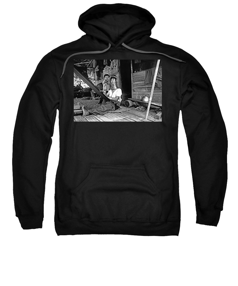 Thailand Sweatshirt featuring the photograph Jungle Crafts Bw by Steve Harrington