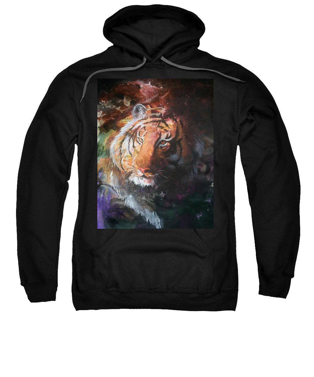 Tiger Sweatshirt featuring the painting Jungle Tiger by Sherry Shipley