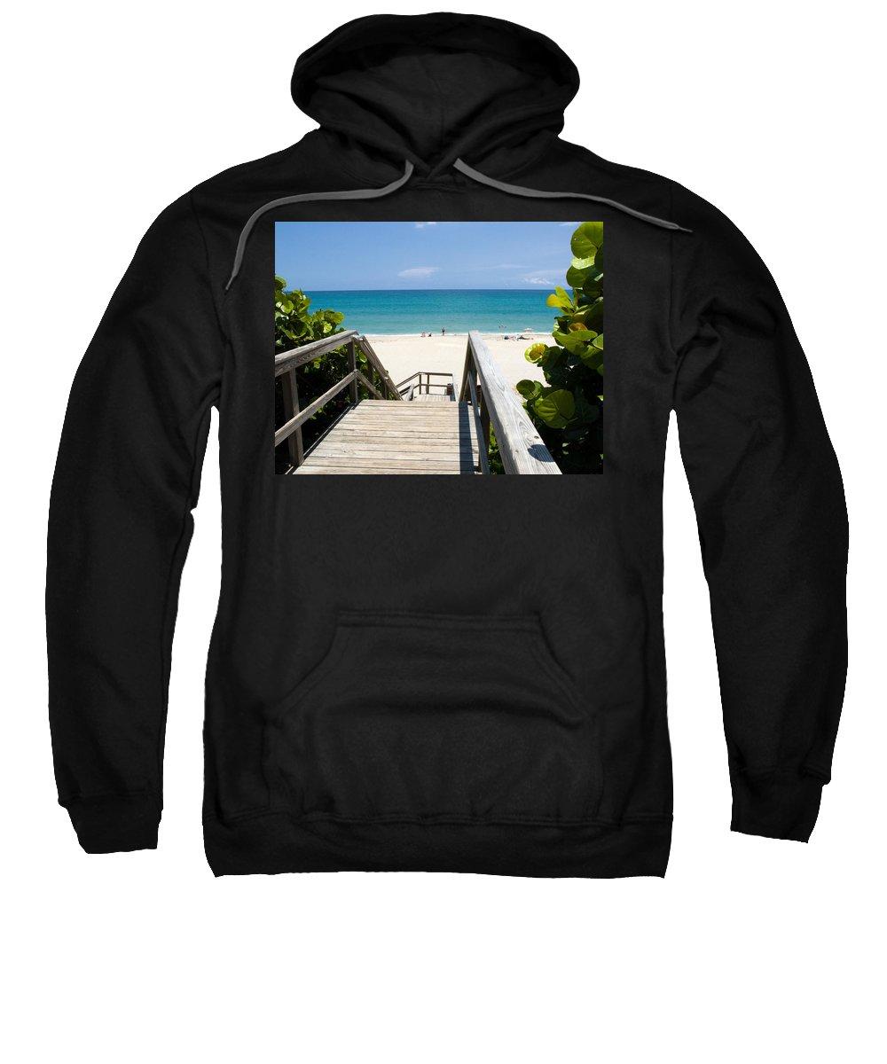 Juno; Florida; Loxahatchee; River; Jupiter; Inlet; Swim; Swimming; Children; Girl; Boy; Woman; Man; Sweatshirt featuring the photograph Juno Beach Florida by Allan Hughes