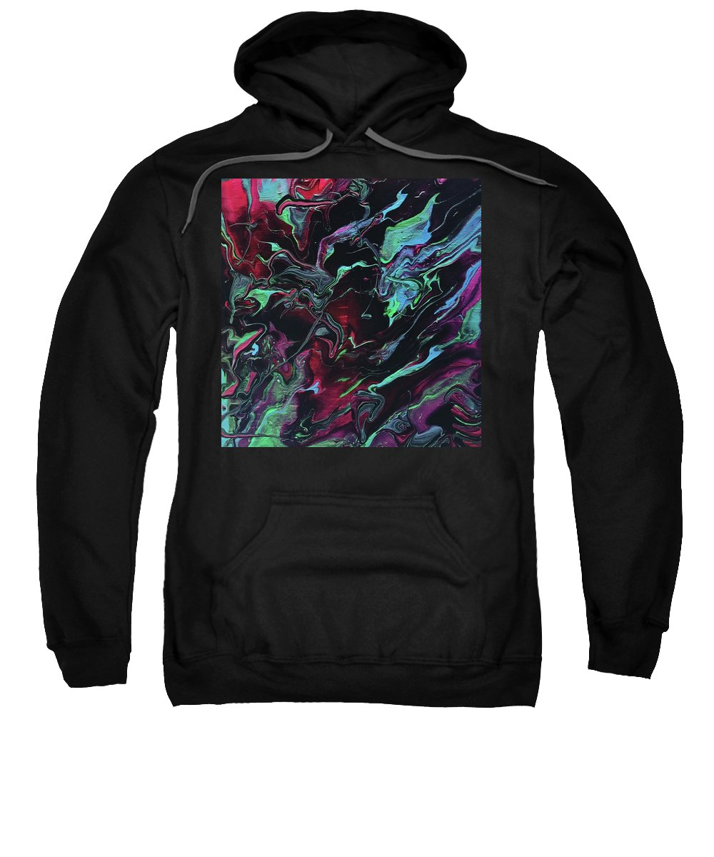 Abstract Acrylic Painting Sweatshirt featuring the painting Jupiter Journey by Cathie Moravcik