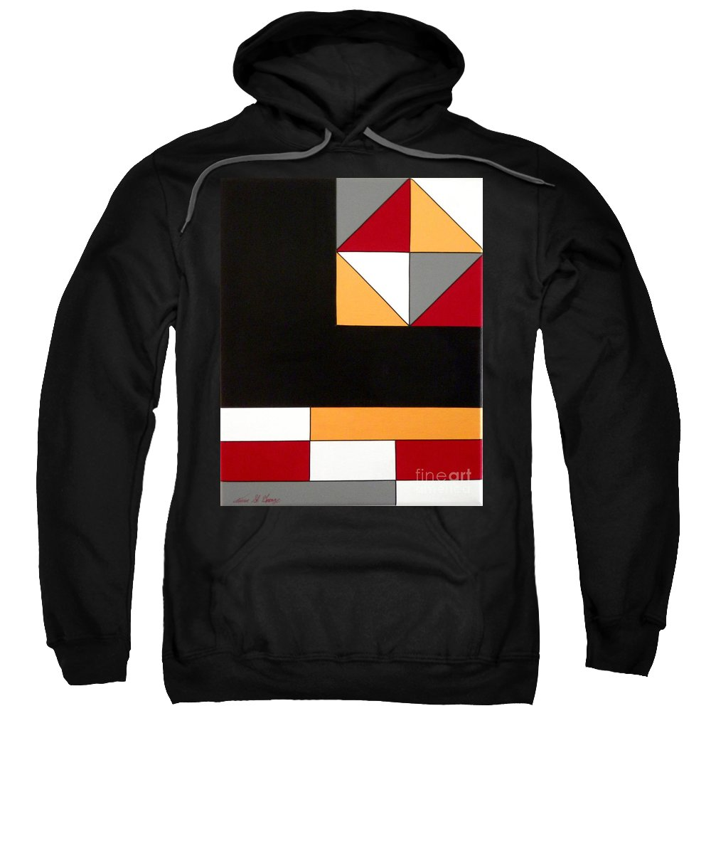 Geometric; Abstract; Black; Gray; Gold; Red; White Colors Sweatshirt featuring the painting Just For Fun by Teresa St George