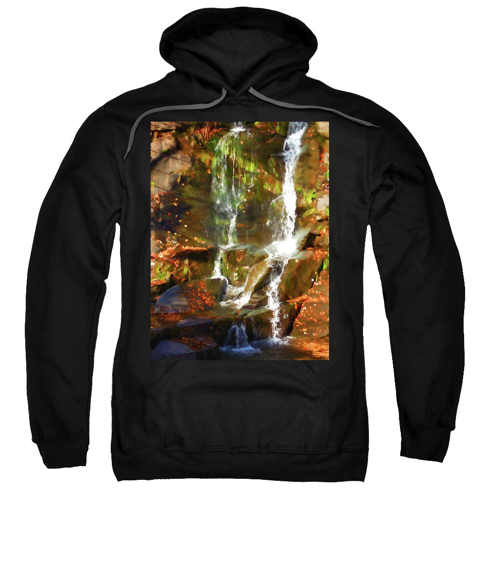 Adventure Sweatshirt featuring the painting Cascading Water by Jeelan Clark
