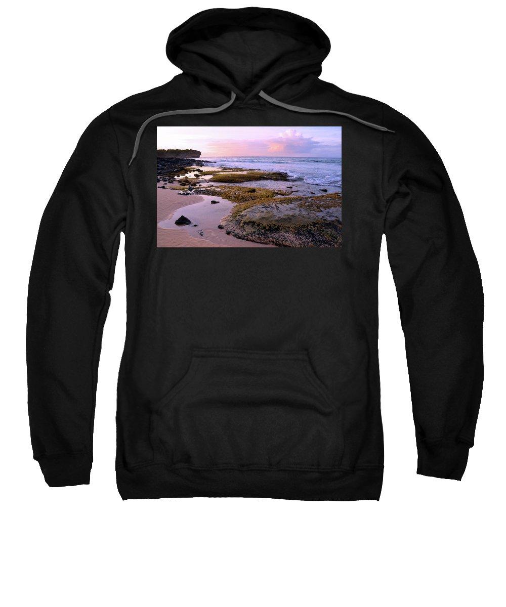 Hawaii Sweatshirt featuring the photograph Kauai Tide Pools At Dawn by Marie Hicks