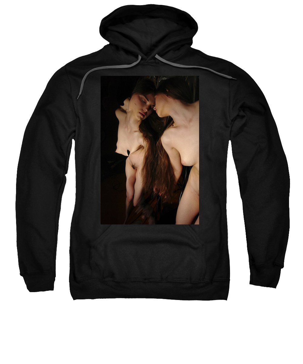 Female Nude Abstract Mirrors Flowers Sweatshirt featuring the photograph Kazi0833 by Henry Butz