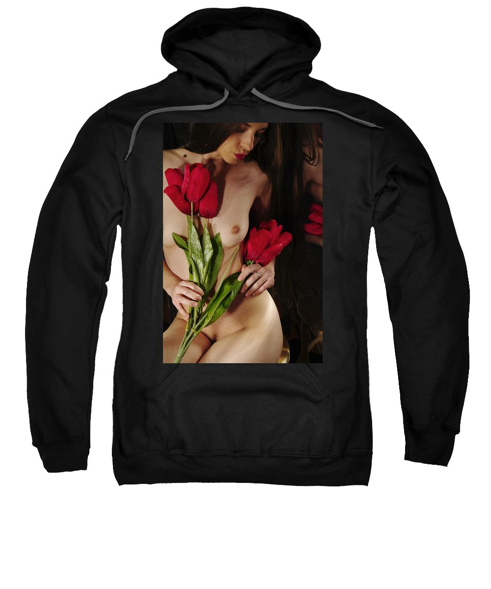 Female Nude Abstract Mirrors Flowers Photographs Sweatshirt featuring the photograph Kazi1111 by Henry Butz