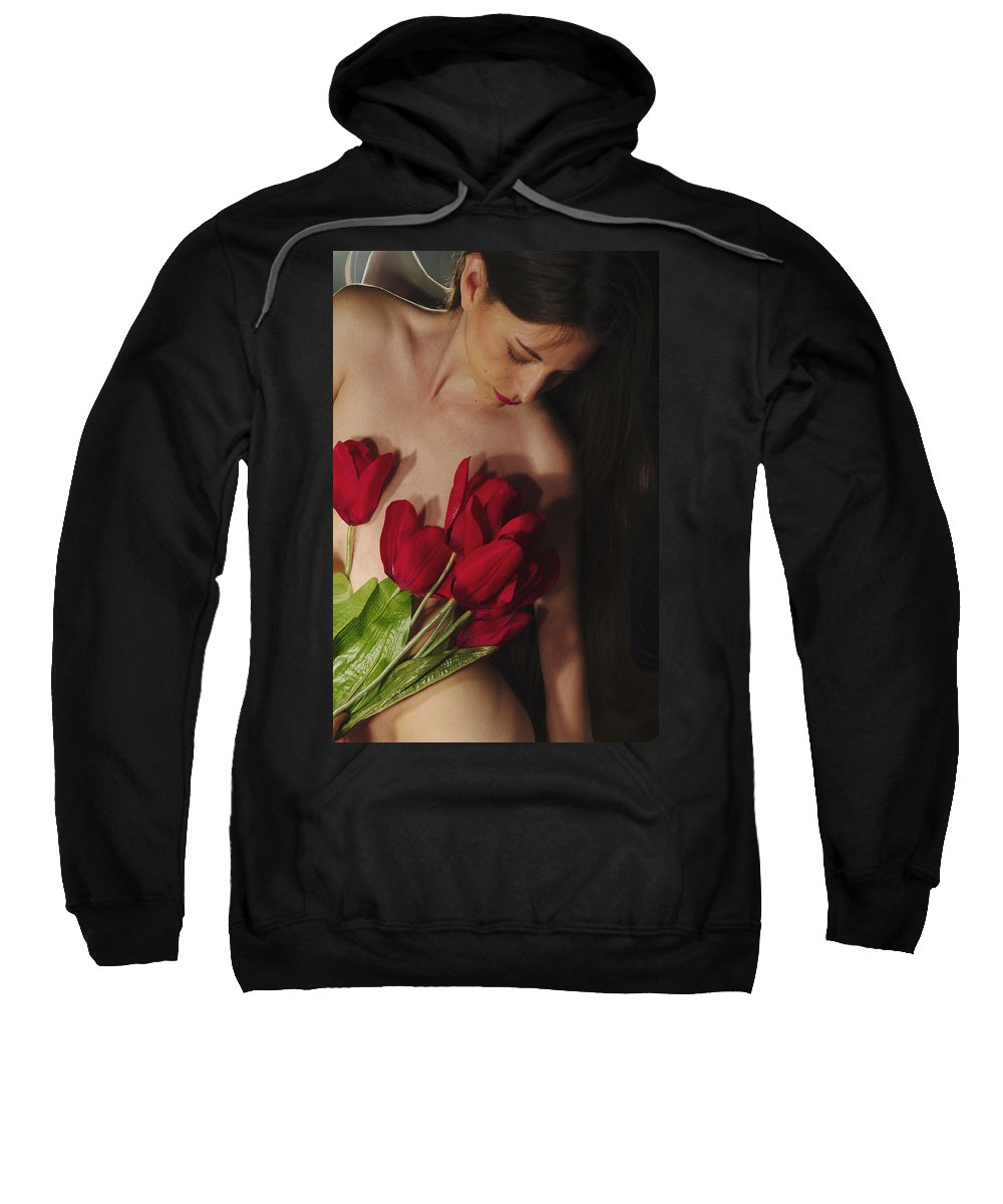 Female Nude Abstract Mirrors Flowers Photographs Sweatshirt featuring the photograph Kazi1129 by Henry Butz