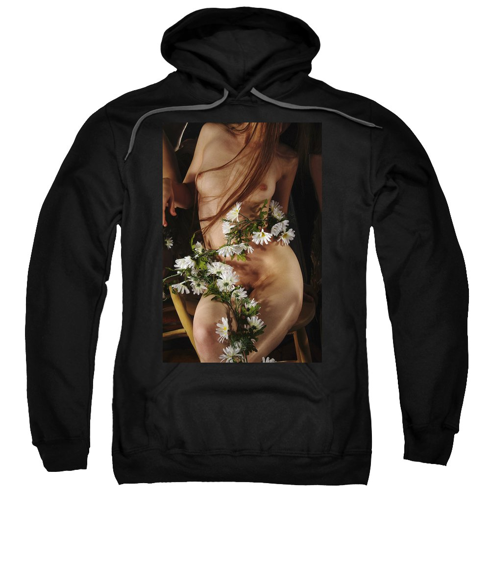 Female Nude Abstract Mirrors Flowers Photographs Sweatshirt featuring the photograph Kazi1138 by Henry Butz