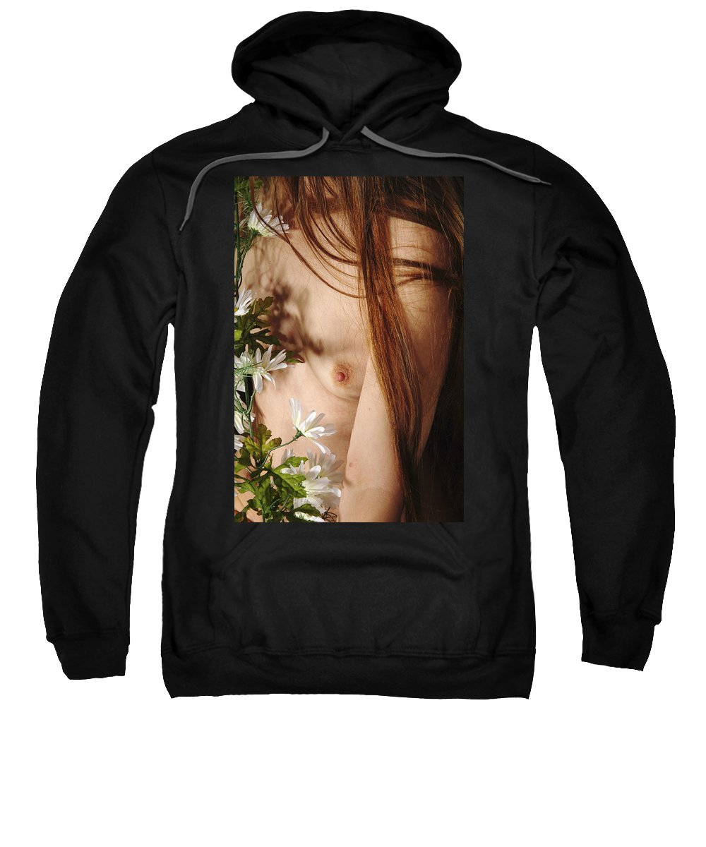 Female Nude Abstract Mirrors Flowers Sweatshirt featuring the photograph Kazi1141 by Henry Butz