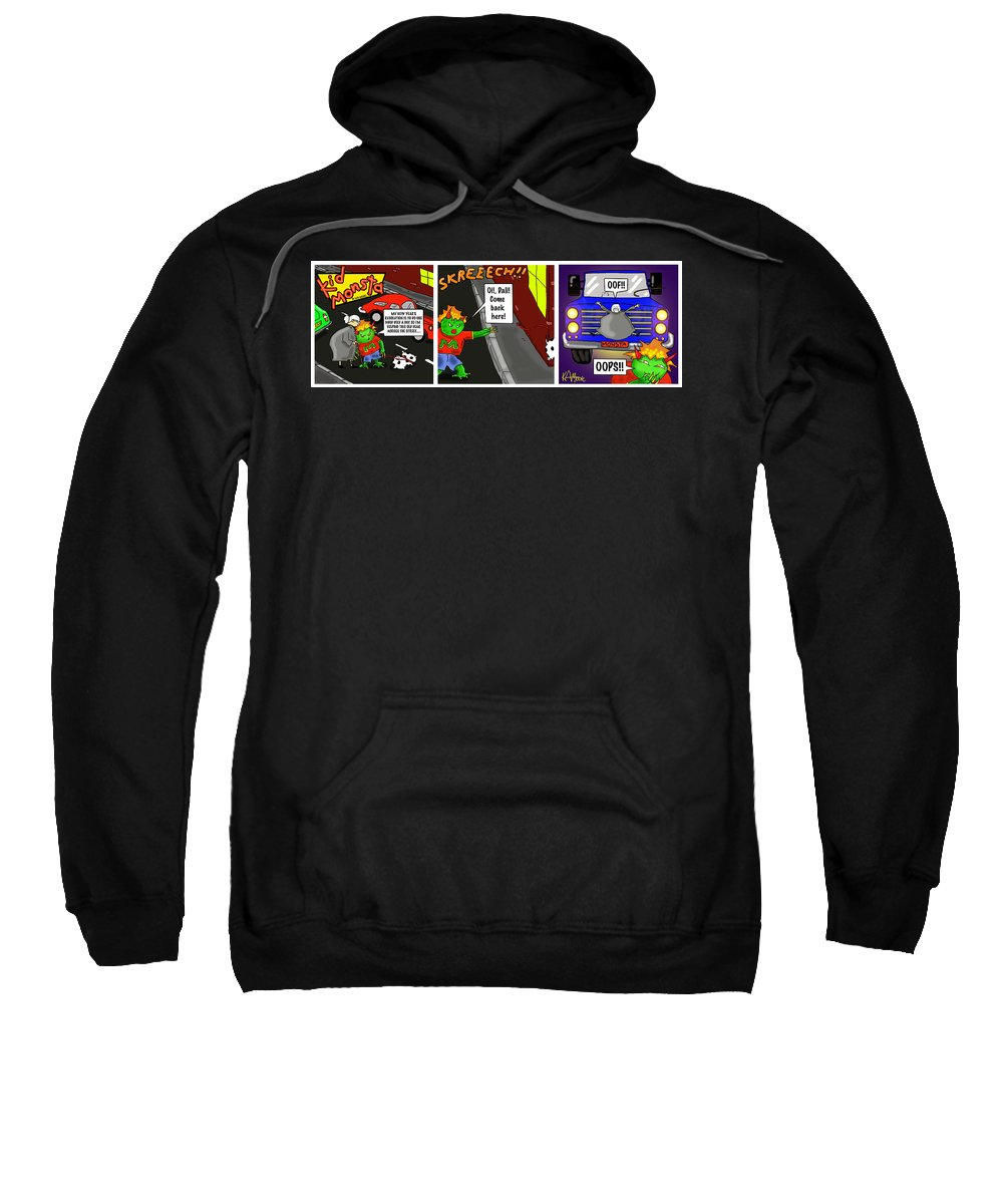 Kid Monsta Sweatshirt featuring the drawing Kid Monsta Triptych 2 by Kev Moore
