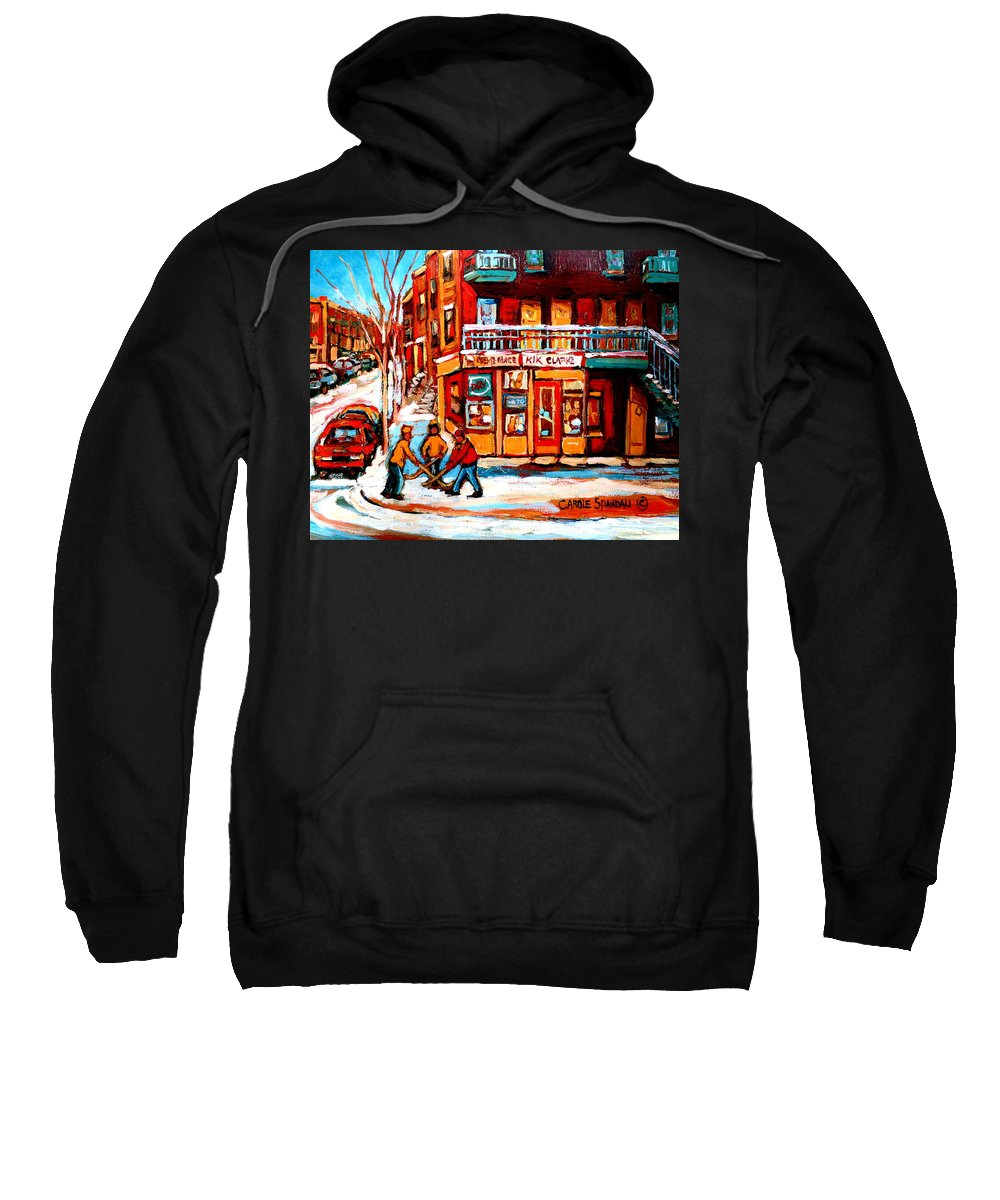 Montreal Streetscene Sweatshirt featuring the painting Kik Cola Depanneur by Carole Spandau
