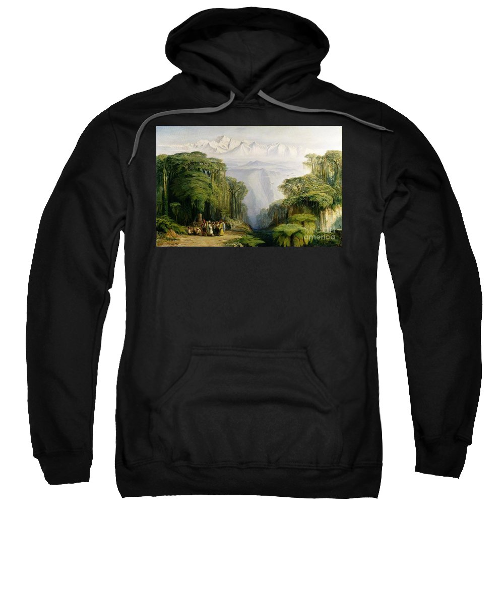 Kinchinjunga Sweatshirt featuring the painting Kinchinjunga From Darjeeling by Edward Lear