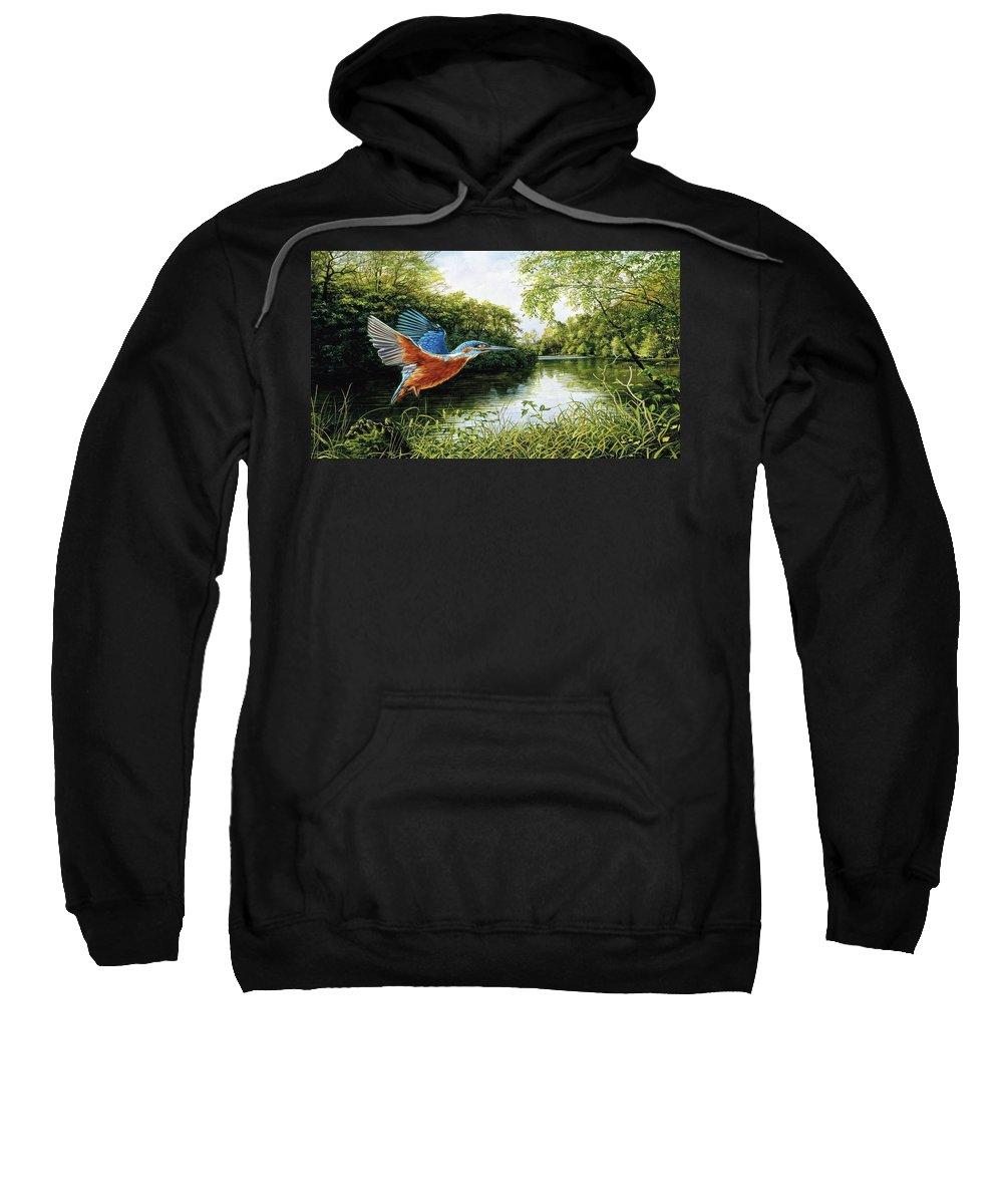 Kingfisher Sweatshirt featuring the digital art Kingfisher by Bert Mailer