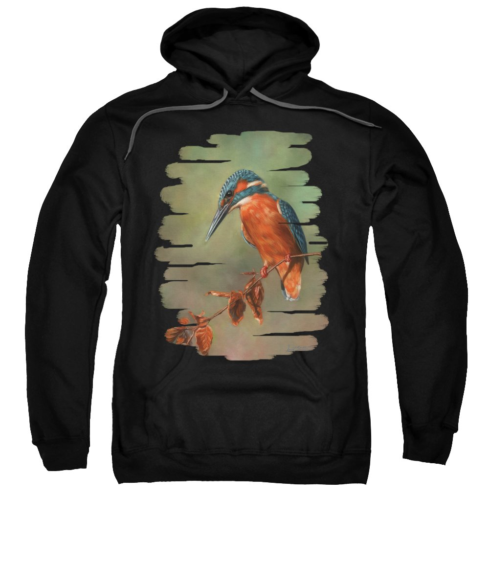 Kingfisher Sweatshirt featuring the painting Kingfisher Perched by David Stribbling