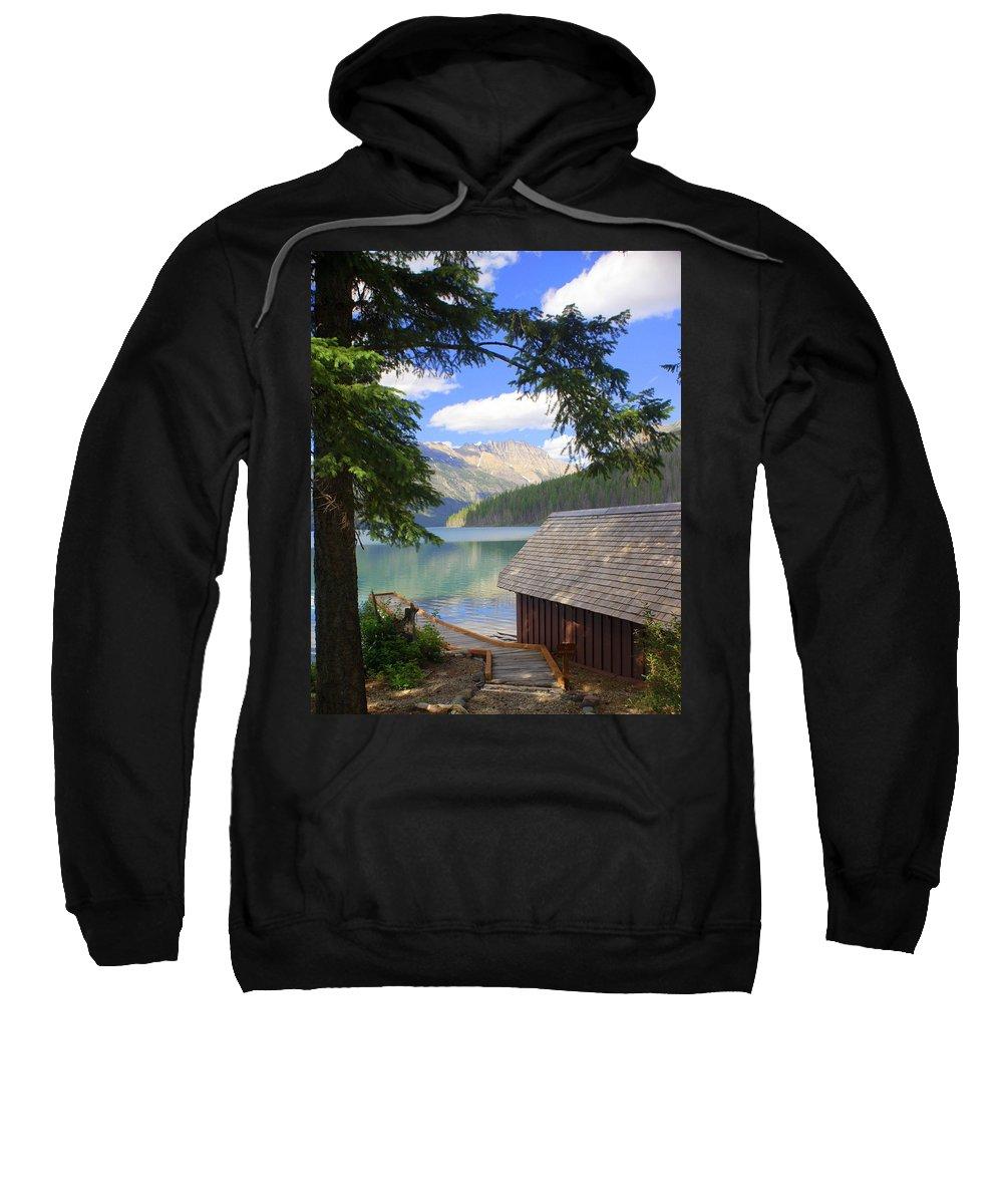 Glacier National Park Sweatshirt featuring the photograph Kintla Lake Ranger Station Glacier National Park by Marty Koch