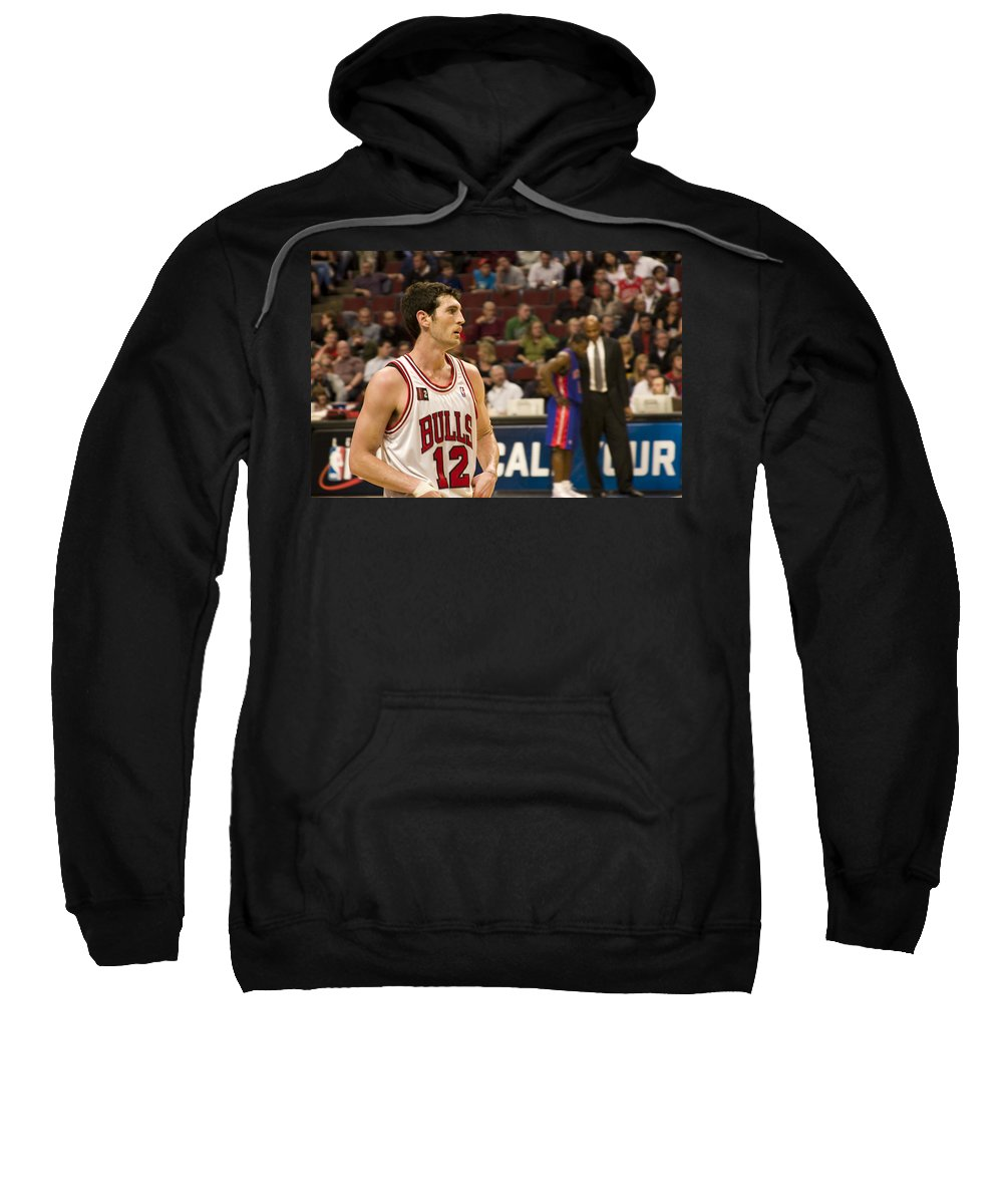 Chicago Windy City Bulls Basketball Nba Kirk Hinrich 12 Game United Center Home Sweatshirt featuring the photograph Kirk Hinrich by Andrei Shliakhau