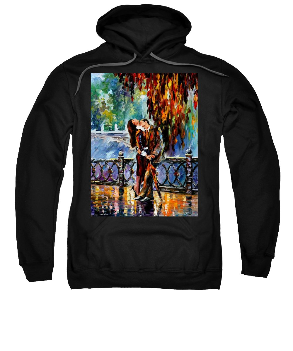 Afremov Sweatshirt featuring the painting Kiss After The Rain by Leonid Afremov
