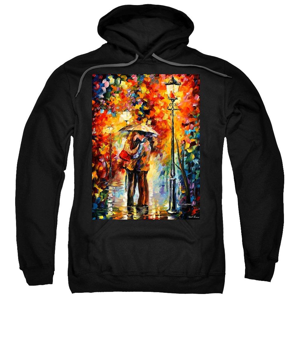 Afremov Sweatshirt featuring the painting Kiss Under The Rain by Leonid Afremov