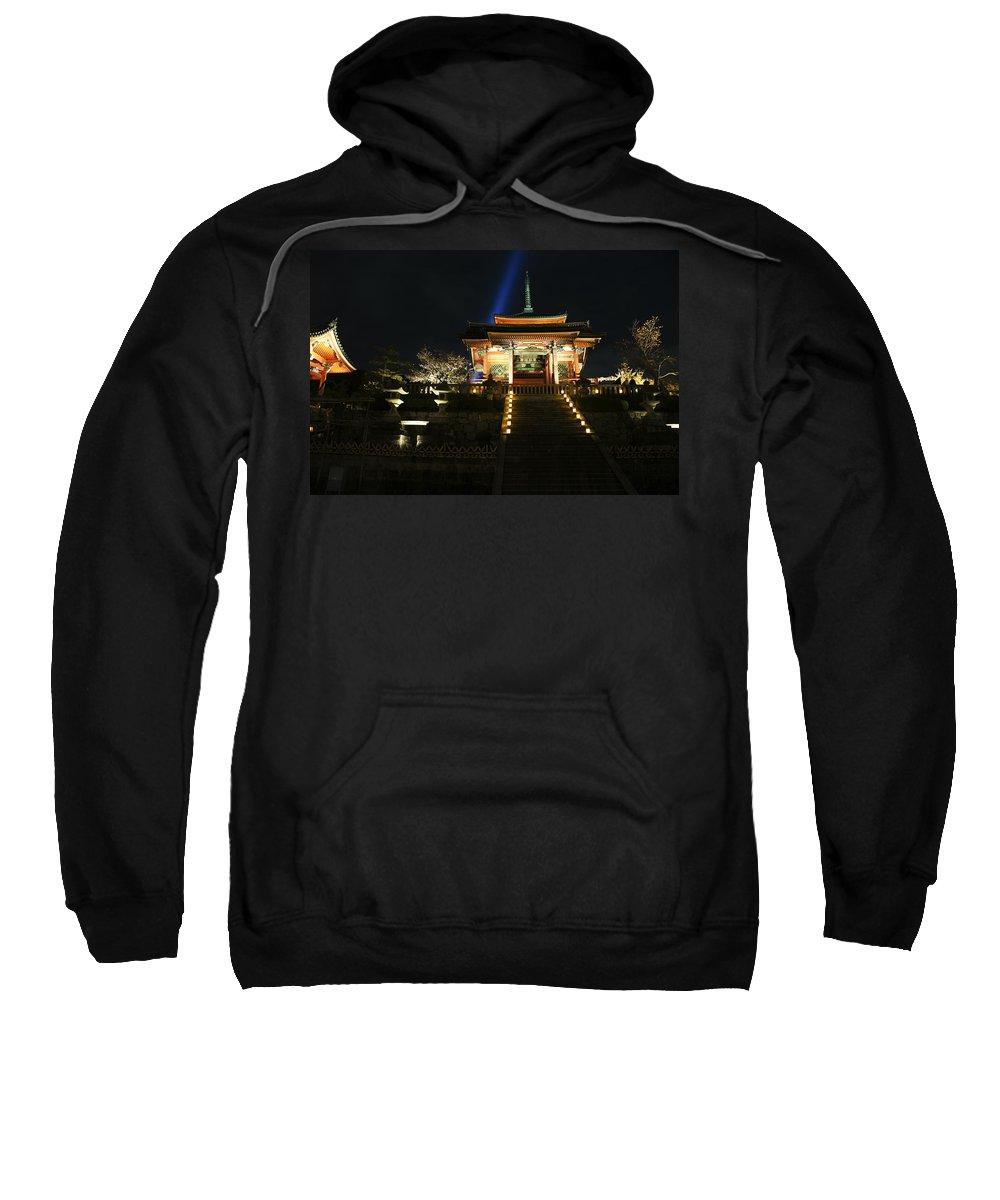 Kiyomizu-dera Sweatshirt featuring the photograph Kiyomizu-dera At Night by Brian Kamprath