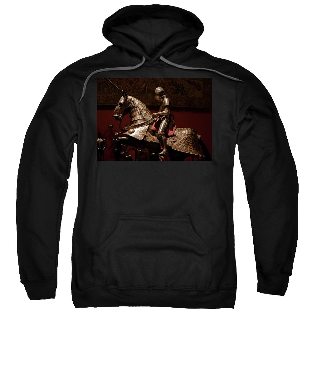 Madrid Sweatshirt featuring the photograph Knight And Horse In Armor by Lorraine Devon Wilke