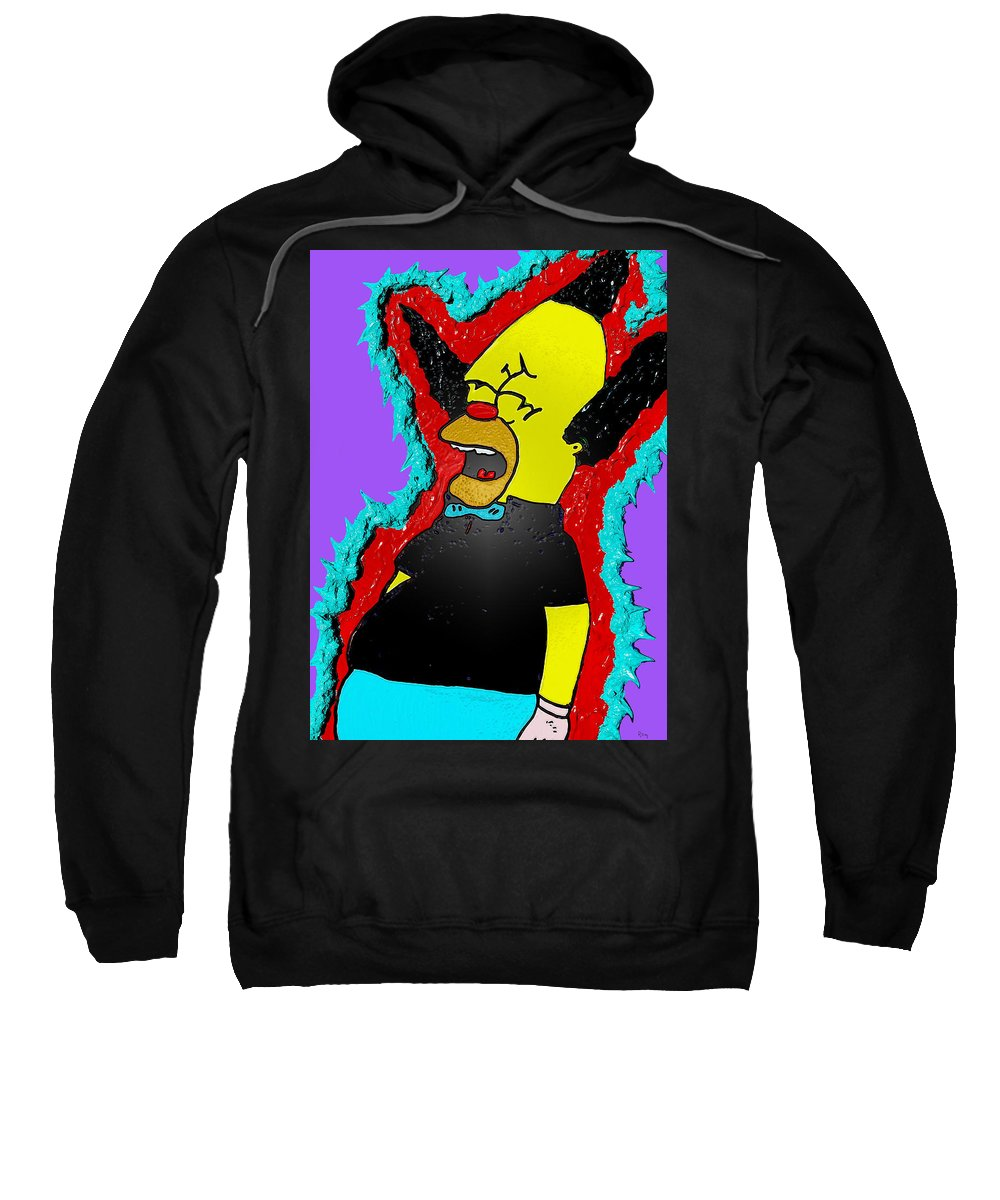 Comic Art Sweatshirt featuring the drawing Krusty The Clown Found Dead by Robert Margetts