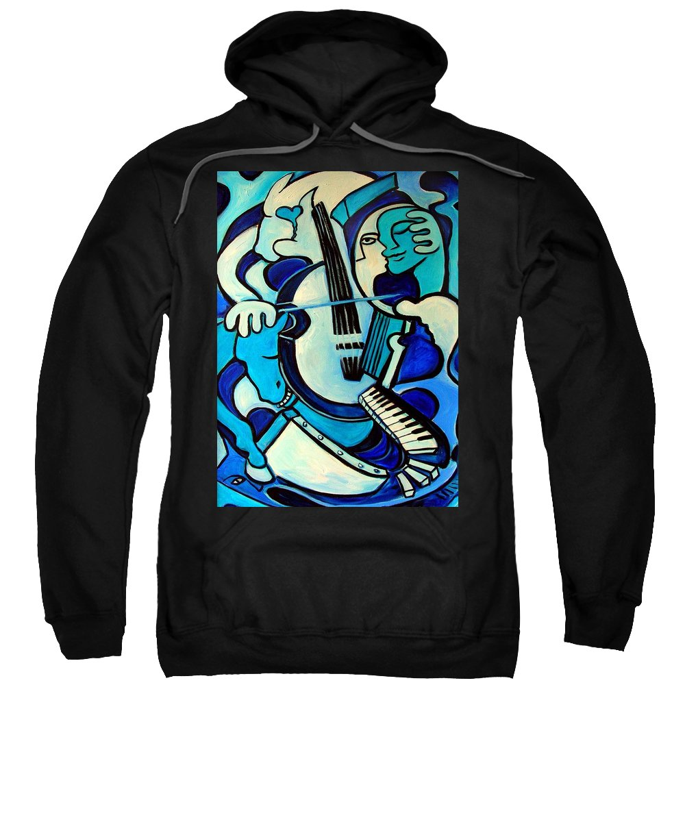 Abstract Sweatshirt featuring the painting L Amour Ou Quoi by Valerie Vescovi