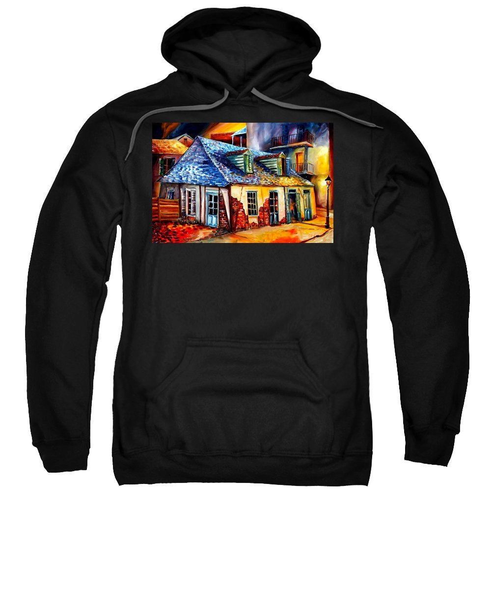 New Orleans Sweatshirt featuring the painting La Fittes Blacksmith Shop by Diane Millsap