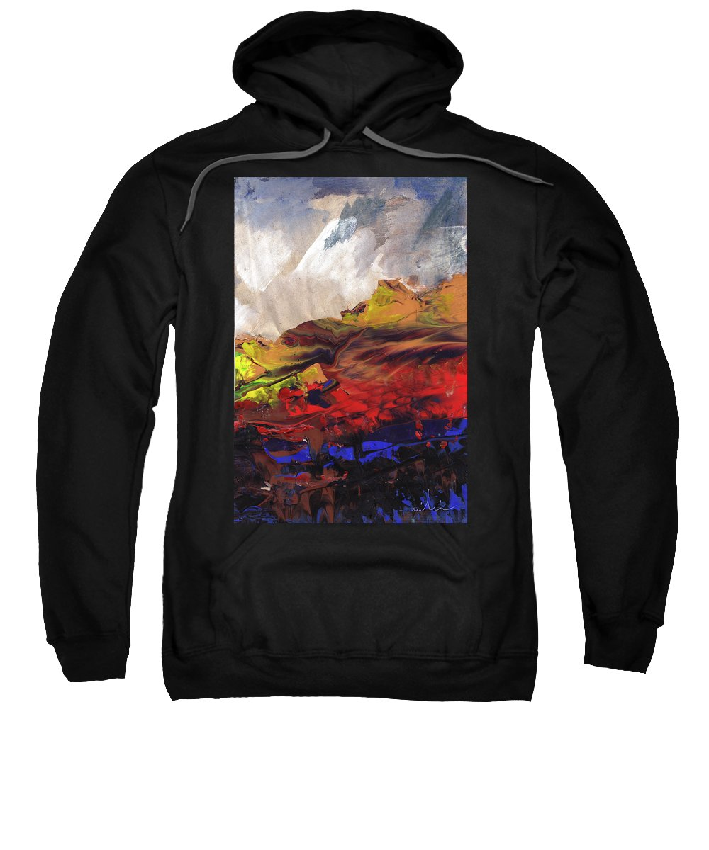 Landscapes Sweatshirt featuring the painting La Mer Rouge by Miki De Goodaboom