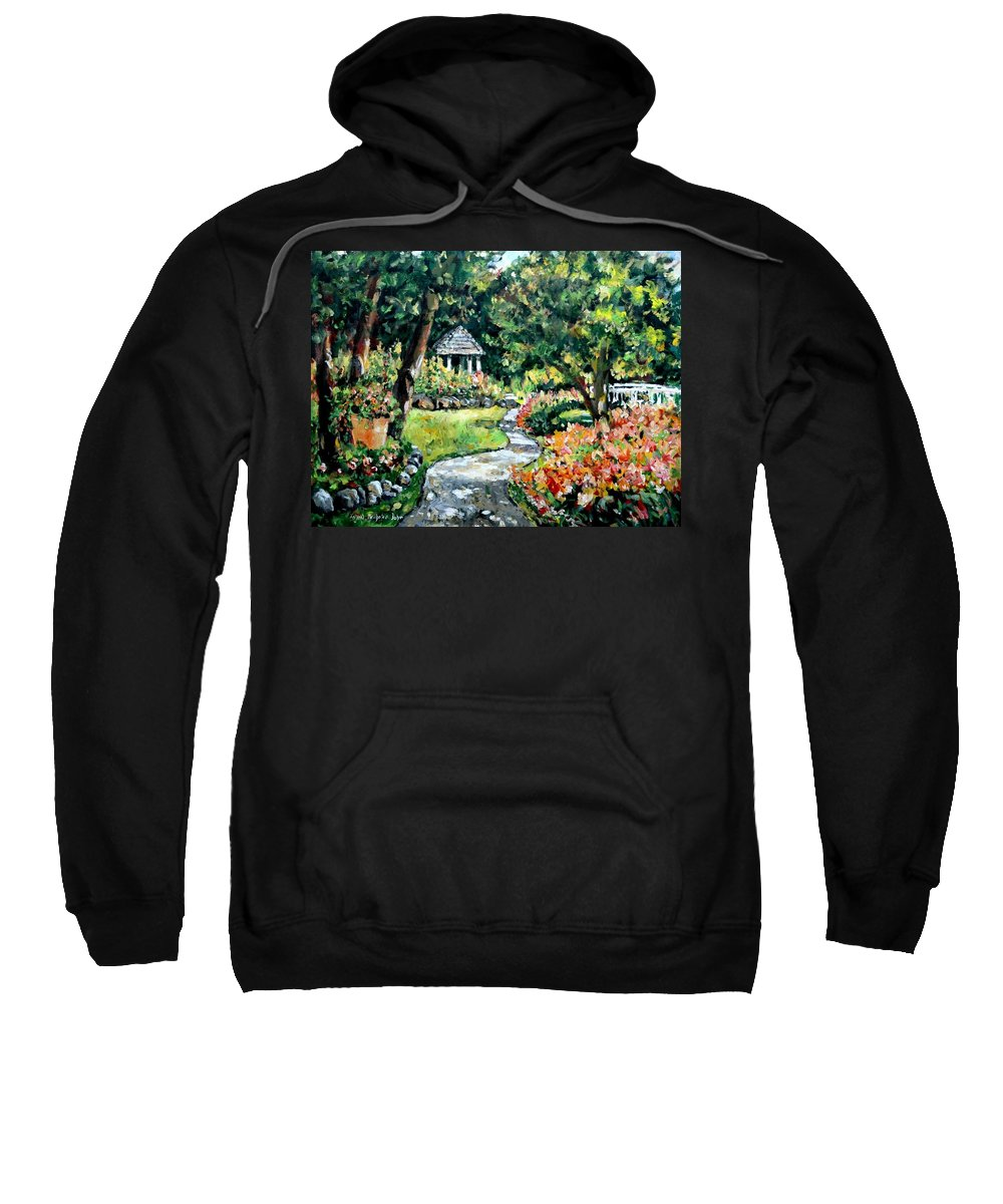 Landscape Sweatshirt featuring the painting La Paloma Gardens by Ingrid Dohm
