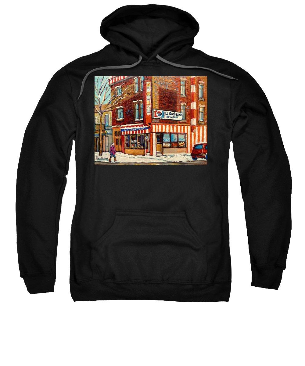 La Quebecoise Restaurant Deli Sweatshirt featuring the painting La Quebecoise Restaurant Deli by Carole Spandau