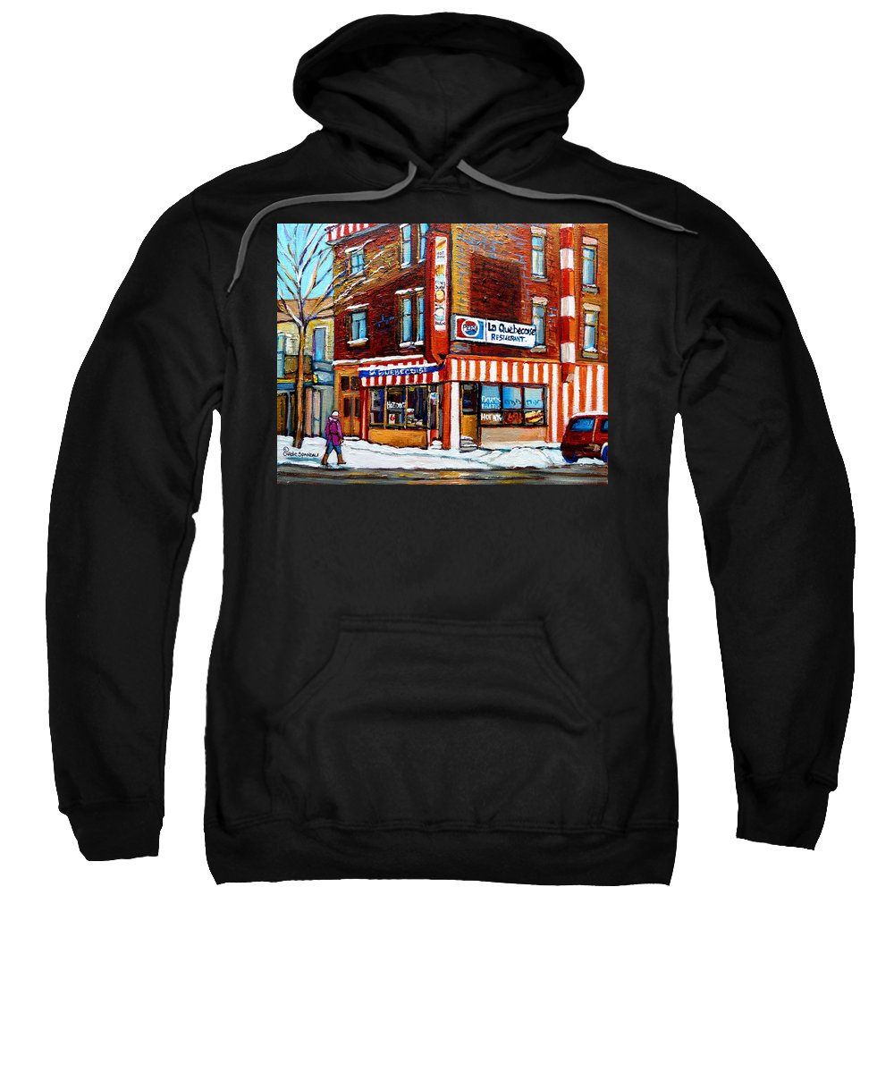 La Quebecoise Restaurant Sweatshirt featuring the painting La Quebecoise Restaurant Montreal by Carole Spandau