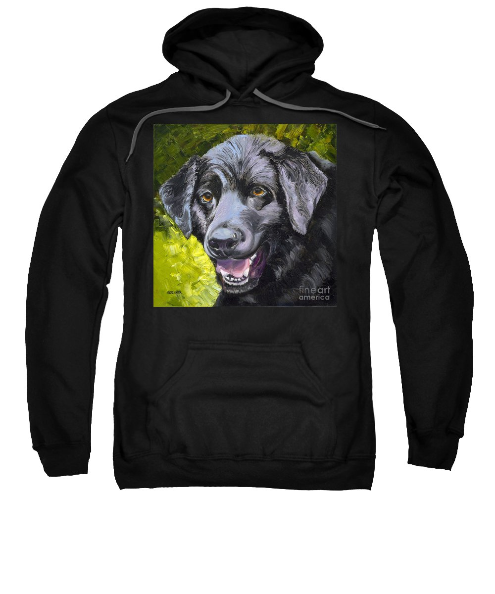 Labrador Retriever Sweatshirt featuring the painting Lab Out Of The Pond by Susan A Becker