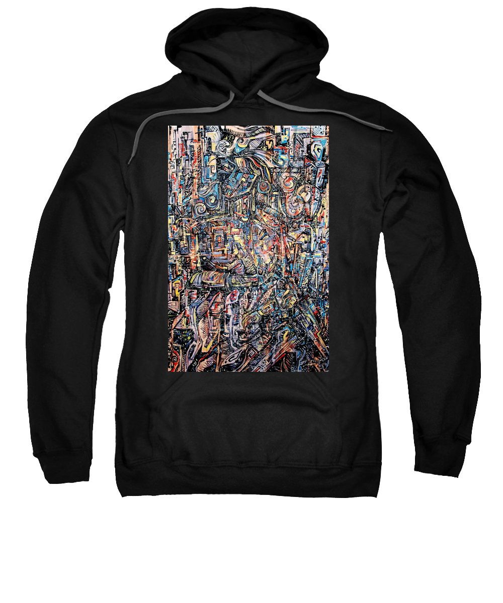 Surrealism Sweatshirt featuring the painting Labyrinth Of Sorrows by Darwin Leon