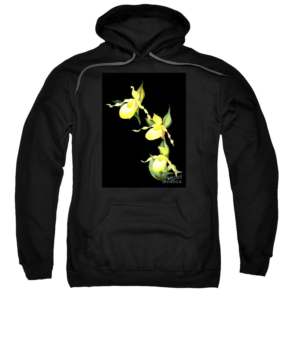 Yellow Lady S Slipper Sweatshirt featuring the painting Ladies Trio by Lynn Quinn