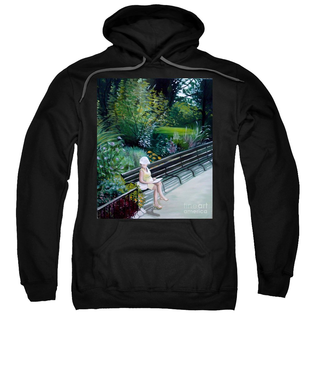 Landscape Sweatshirt featuring the painting Lady In Central Park by Elizabeth Robinette Tyndall