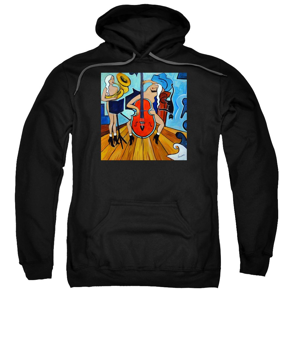 Musicians Sweatshirt featuring the painting Lady In Red by Valerie Vescovi