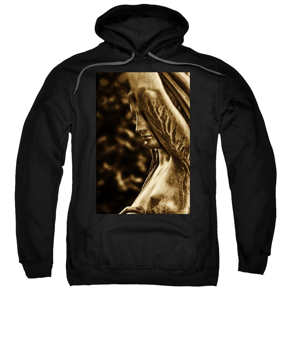 Fairmount Park Sweatshirt featuring the photograph Lady In The Garden In Sepia by Bill Cannon