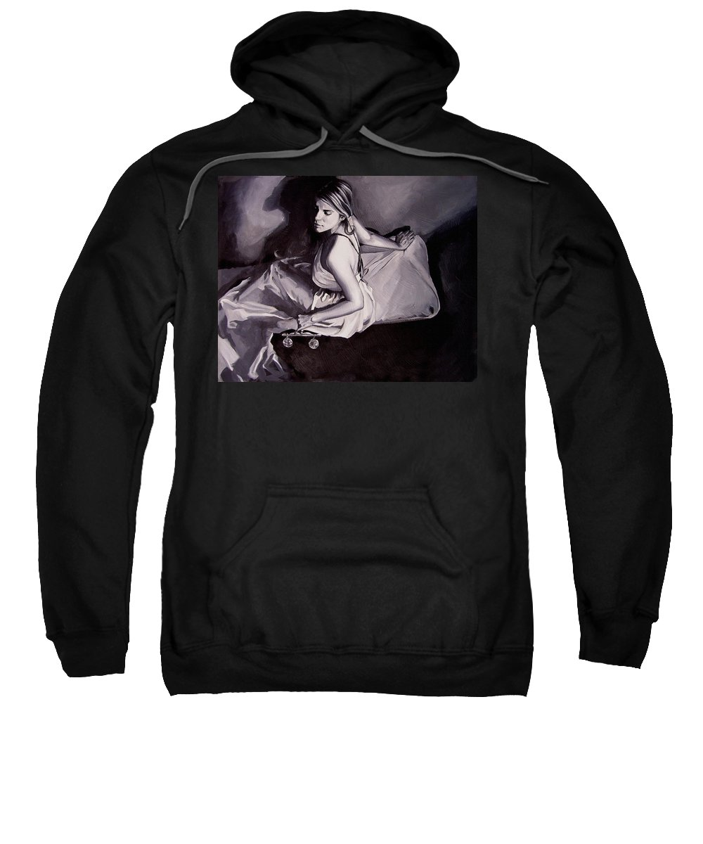 Law Art Sweatshirt featuring the painting Lady Justice Black And White by Laura Pierre-Louis