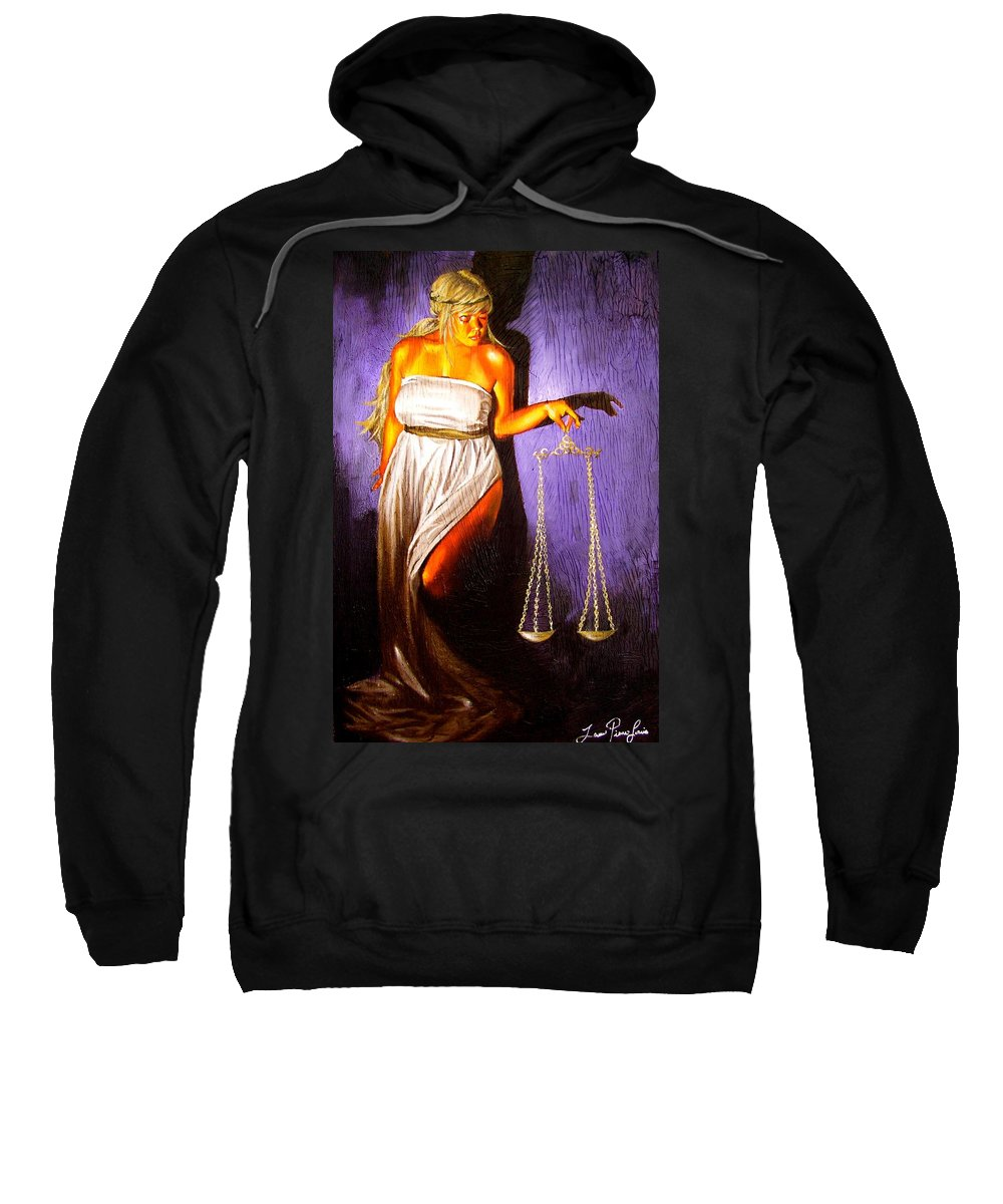 Law Sweatshirt featuring the painting Lady Justice Long Scales by Laura Pierre-Louis