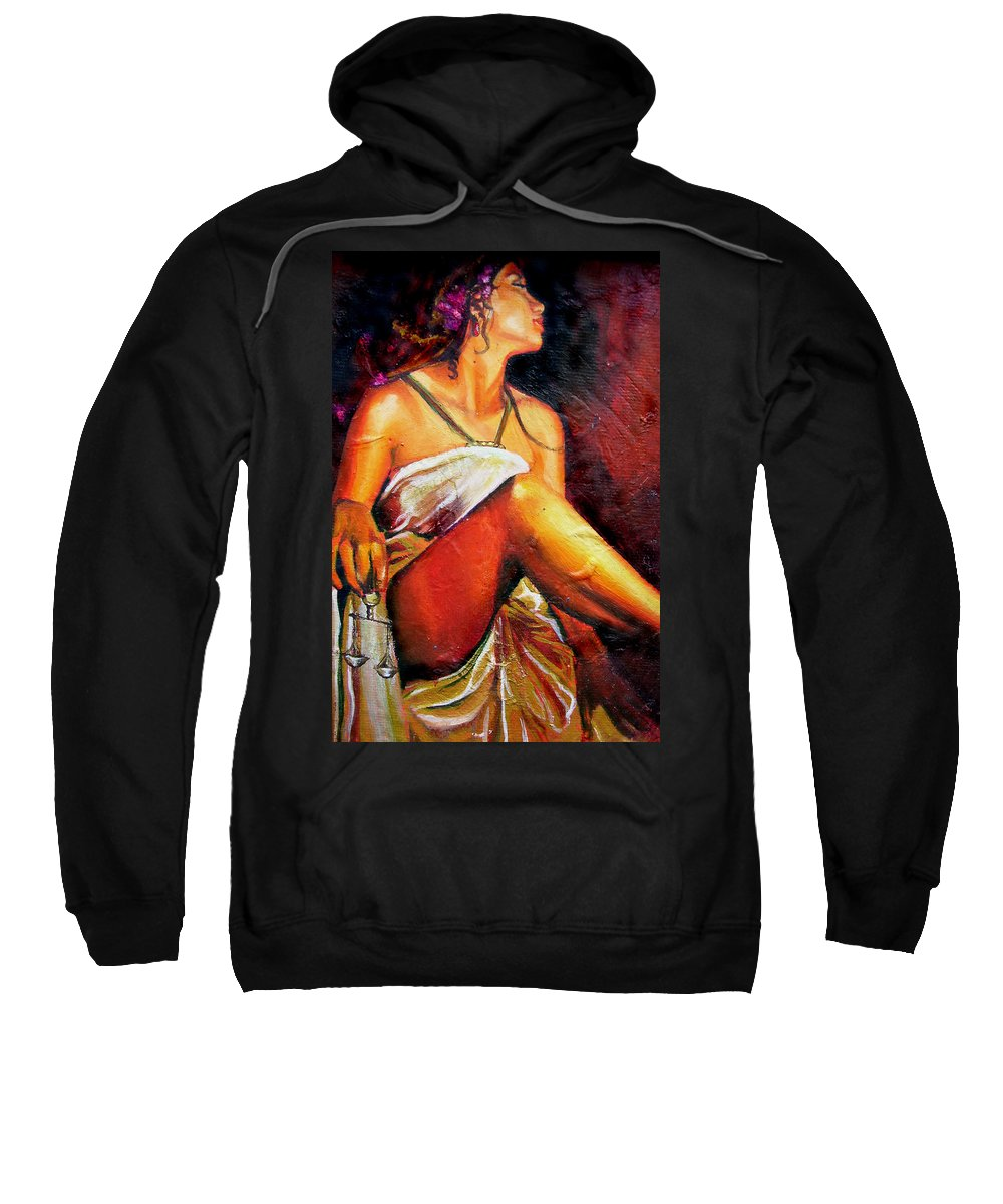 Law Art Sweatshirt featuring the painting Lady Justice Mini by Laura Pierre-Louis