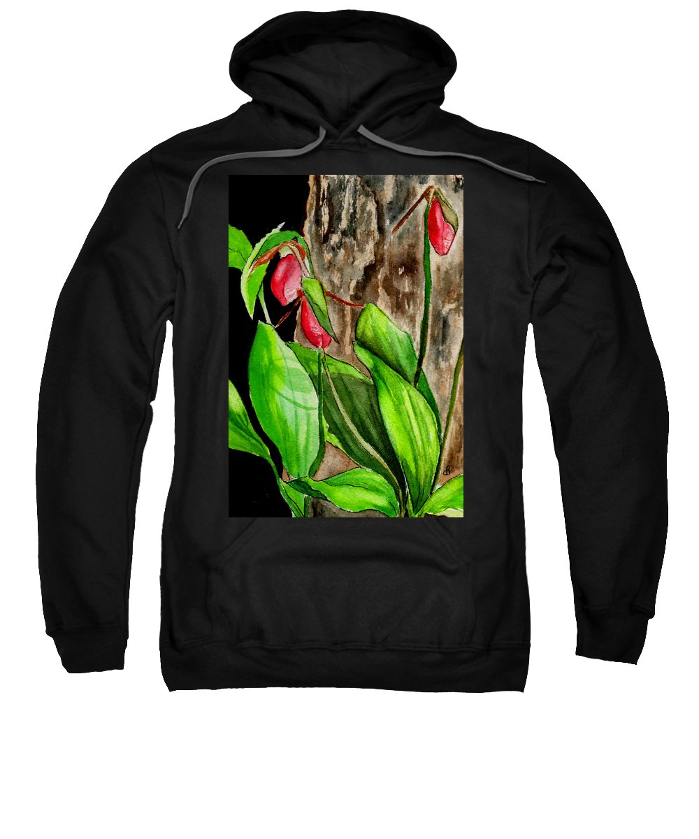 Watercolor Sweatshirt featuring the painting Lady Slippers by Brenda Owen