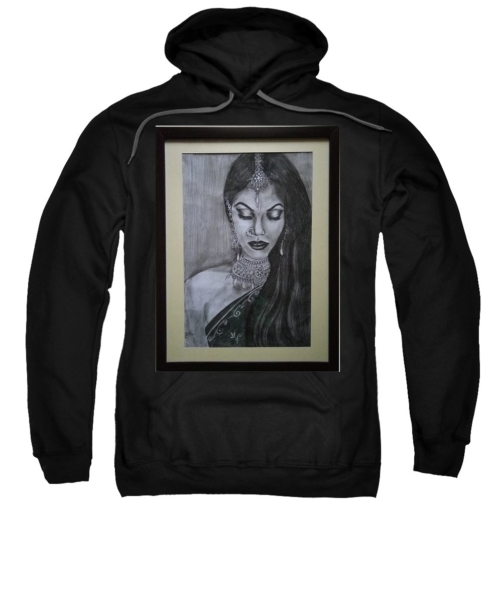 Lady With Bridal Jewelry Sweatshirt featuring the drawing Lady With Bridal Jewelry by Sneha Choudhary