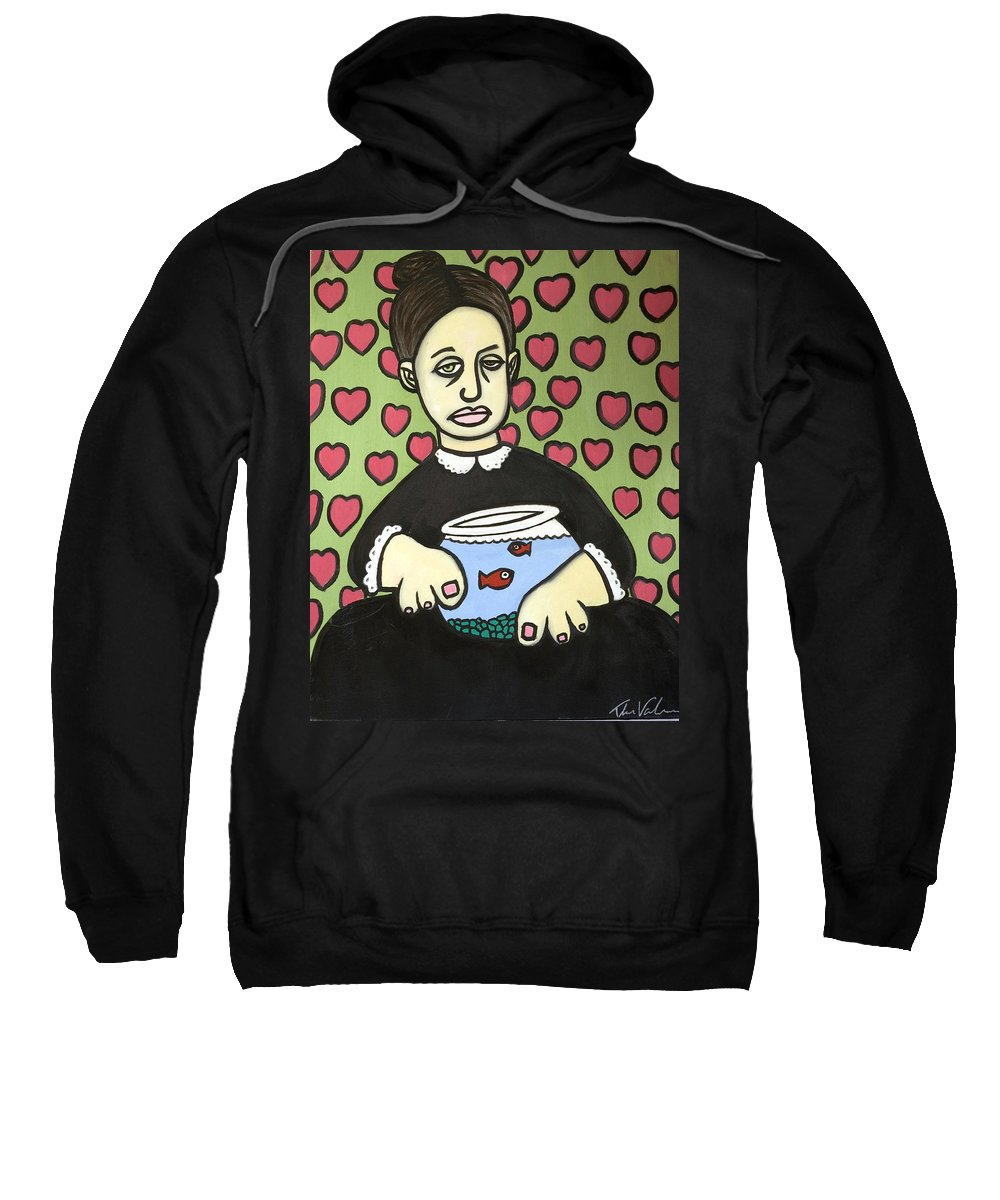 Sweatshirt featuring the painting Lady With Fish Bowl by Thomas Valentine