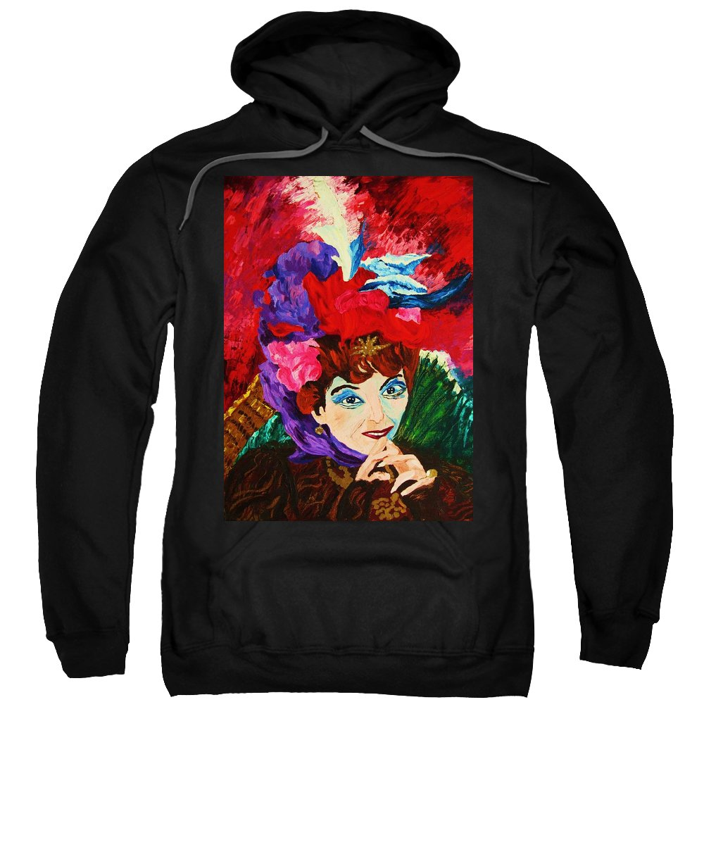 Red Hats Sweatshirt featuring the painting Lady With The Red Hat by Carole Spandau