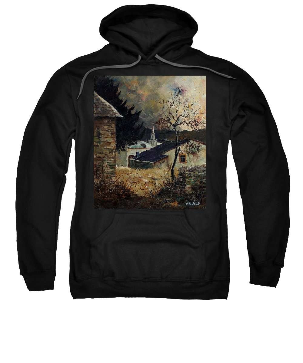Tree Sweatshirt featuring the painting Laforet Ardennes village by Pol Ledent